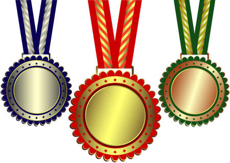 Gold, silver and bronze awards with ribbons and stars on white background Vector