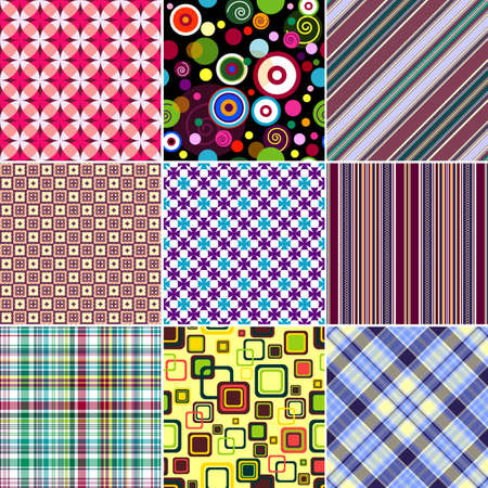 scattering: Set colorful geometric seamless patterns