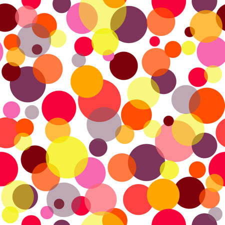 Abstract seamless pattern with red, pink and yellow balls Vector