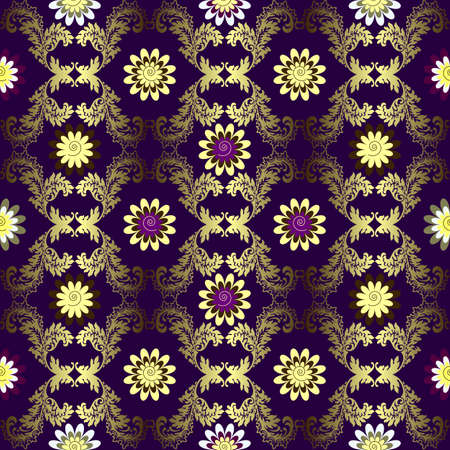 silvery: Violet and silvery abstract seamless floral pattern