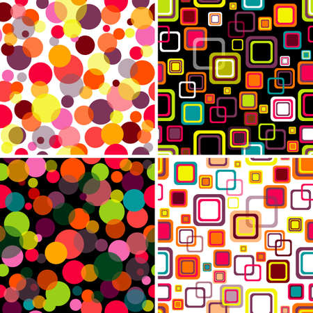 Four seamless patterns colorful circles and squares Vector