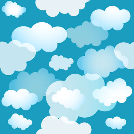 Spring  seamless blue pattern with clouds Vector