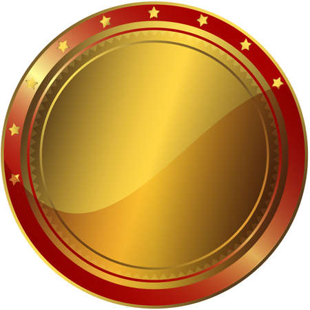 Golden and red  circle award with gold stars Stock Vector - 6723890