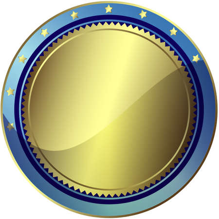 Silvery and blue circle award with gold stars Stock Vector - 6723891