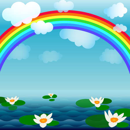 Bright spring background with a rainbow, clouds and flowers Vector