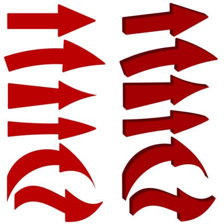 flecha direccion: Conjunto de iconos de flecha roja Vectores