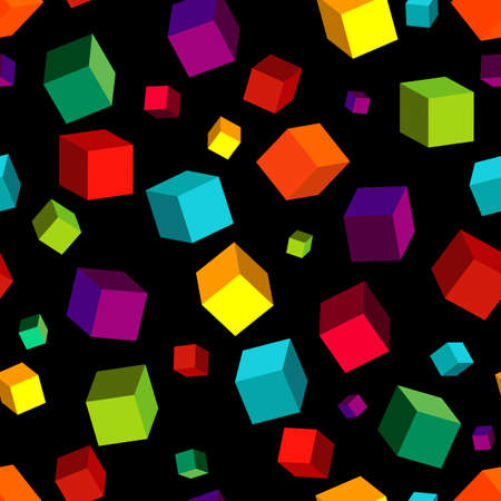 Seamless black pattern with colorful volume cubes Vector
