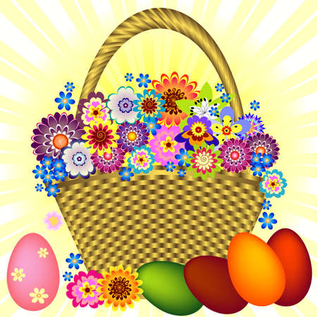 lilas: Easter gold basket with flowers and eggs Illustration