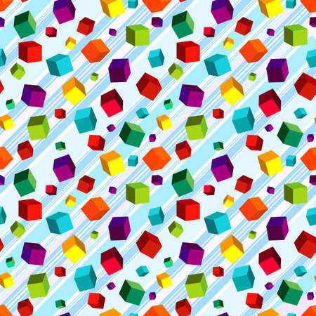 Seamless striped diagonal pattern with colorful volume cubes Vector