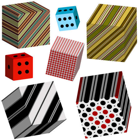 checkered volume: Set of colorful three-dimensional cubes on a white background for design Illustration