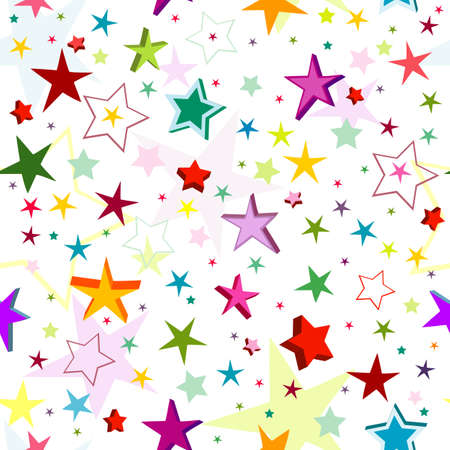 graphical: Seamless pattern of a maze of colorful stars on a white background Illustration