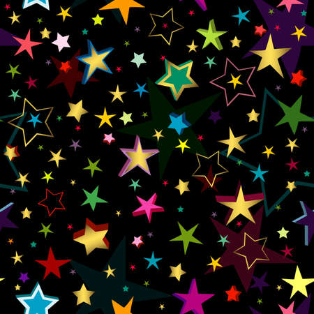 Black seamless pattern of a maze of golden and colorful stars Vector