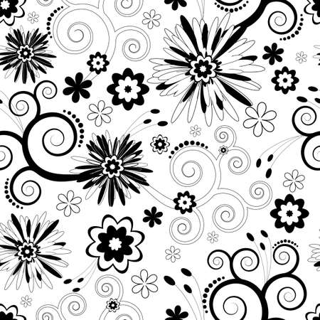 화이트:  Seamless floral black and white pattern  (vector)