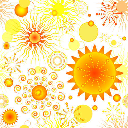 Abstract vivid seamless pattern with suns (vector) Vector