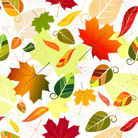 Floral seamless pattern of colorful leaves (vector) Vector
