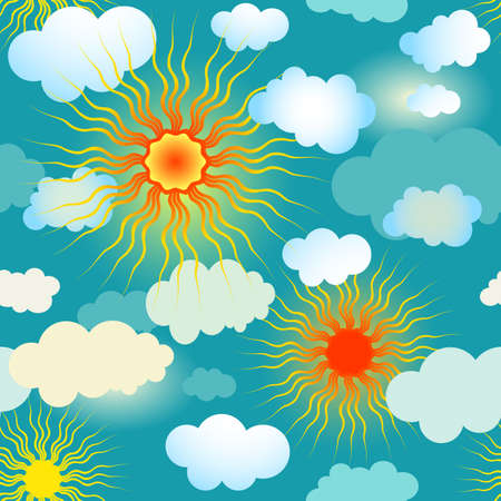 Spring seamless blue pattern with suns and clouds (vector) Vector