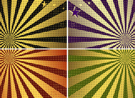 Set green, black, violet and red card with rays and balls and stars  Vector