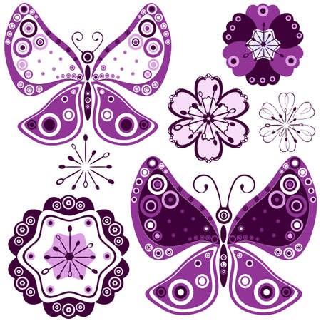 Collection abstract flowers and butterflies for design on white  Stock Vector - 6829792