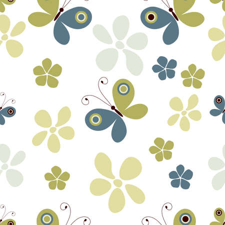 Seamless pastel pattern with butterflies and flowers   Vector