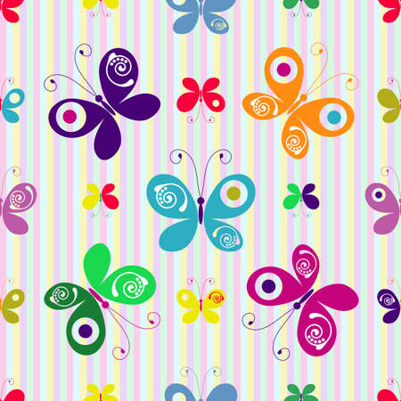 motley: Motley seamless striped pattern with colorful butterflies