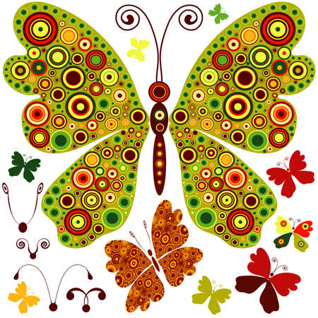 Set abstract butterflies for design on white  Vector