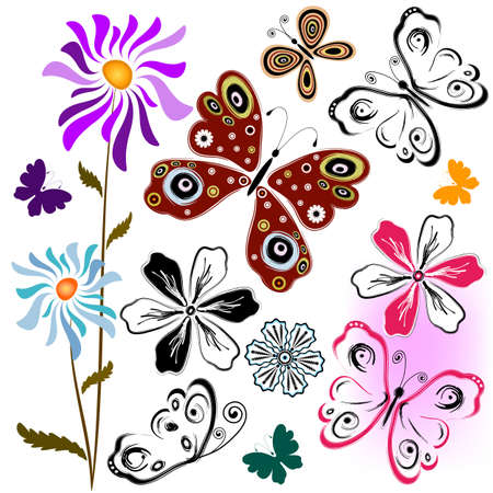 lilas: Set abstract butterflies and flowers for design on white