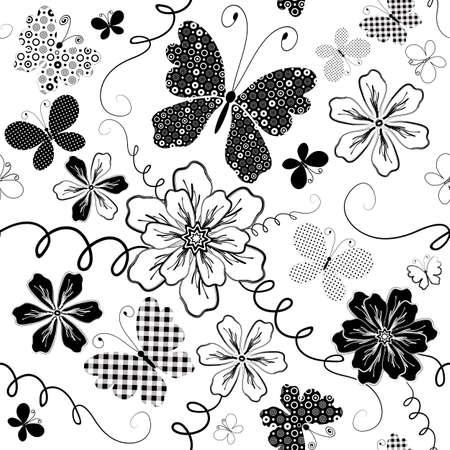 pink cell: Patr�n floral blanco y negro que se transparente con flores y mariposas