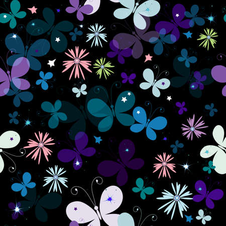 Black seamless floral pattern with decorative translucent butterflies  Vector