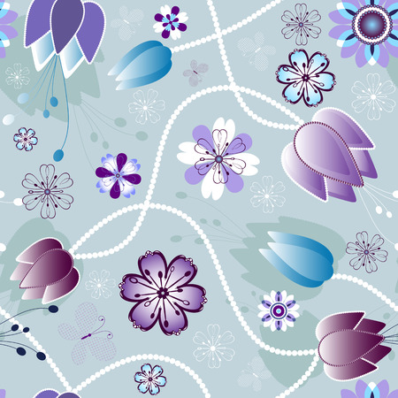 Seamless gentle violet and grey floral pattern with flowers and  butterflies Vector
