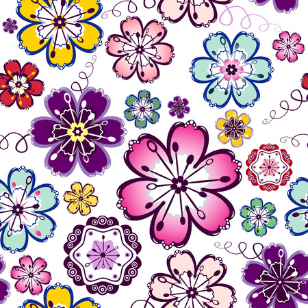 lilas: Lilas, violet, blue, pink and white seamless floral pattern  Illustration