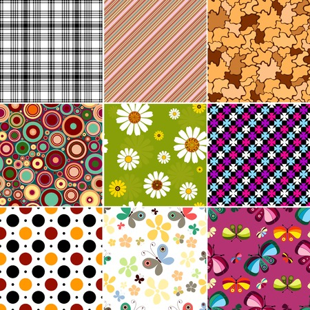 Collection geometric and floral seamless patterns Vector