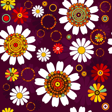 Dark seamless floral pattern with concentric colorful circles Vector