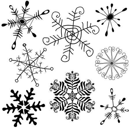 handwork: Collection new handwork of snowflakes on white