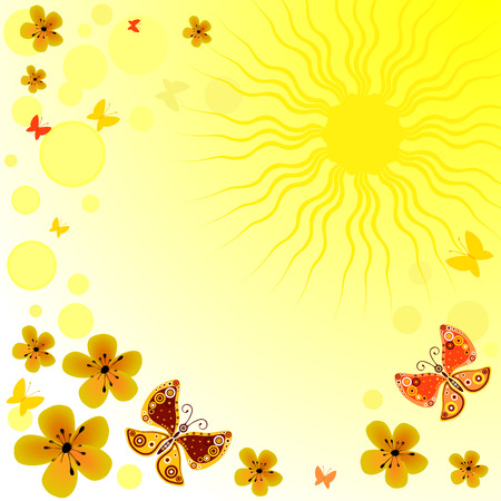 Abstract yellow bright spring background with sun, flowers and butterflies Stock Vector - 6916915