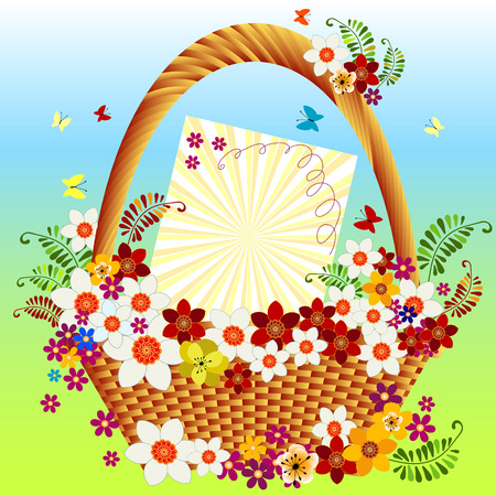springtime: Basket with colorful flowers and butterflies