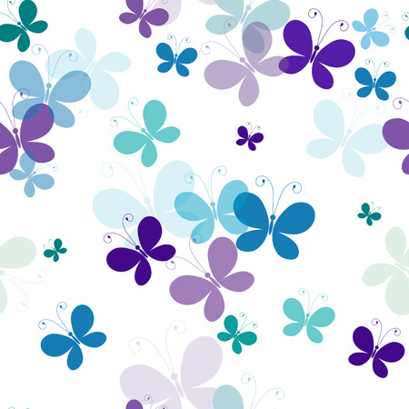 Seamless white pattern with silhouettes translucent butterflies
