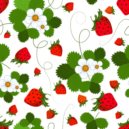 wild strawberry: Bright seamless pattern with a strawberry, leaves and flowers