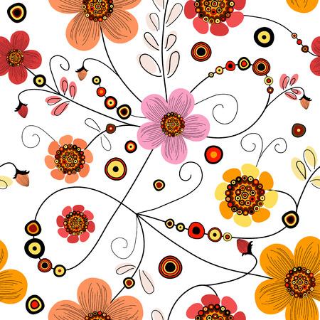 trabajo manual: Patr�n floral transparente con ondulaciones y bolas Vectores