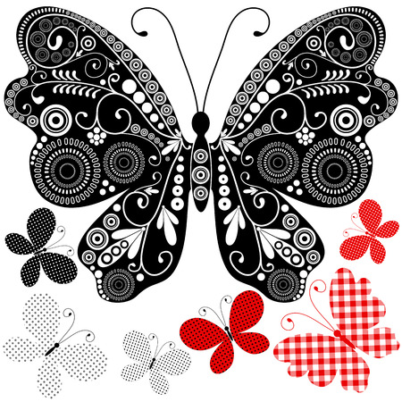 Set abstract vintage butterflies for design on white Vector