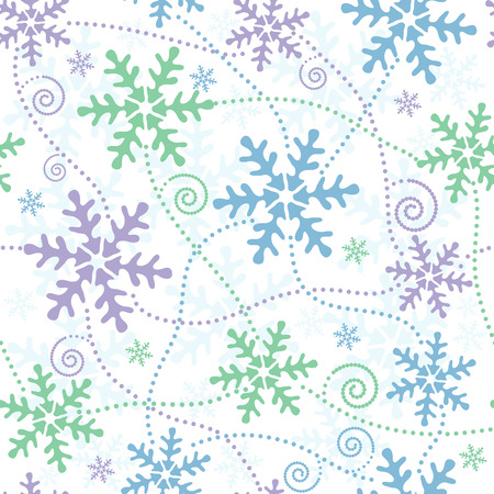 Seamless white, blue, green and pink pastel christmas pattern Vector