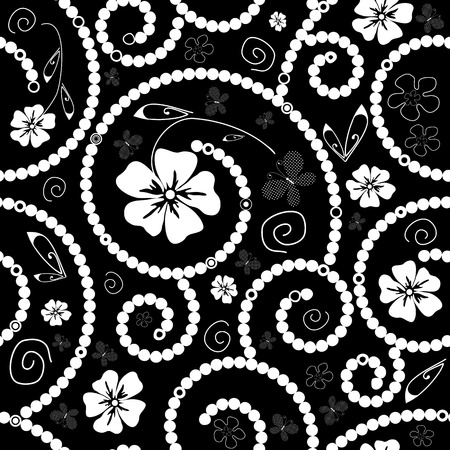 a pink cell: White and black seamless floral pattern with flowers and butterflies Illustration
