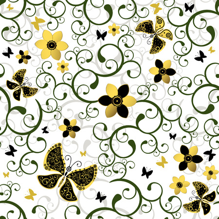 Seamless white floral pattern with green curls and butterflies Vector