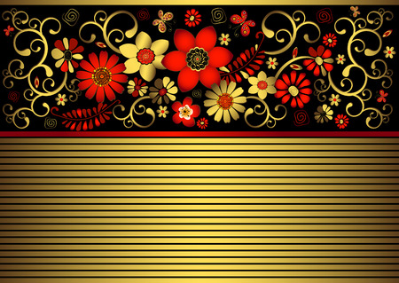 Vintage black and gold  frame with golden and red curls Vector