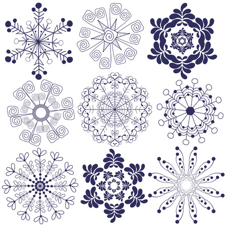 Collection handwork of new snowflakes on white Vector