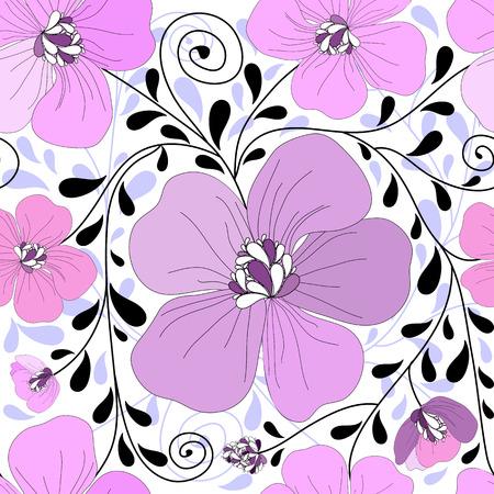trabajo manual: Patr�n floral transparente con rizos y hojas  Vectores
