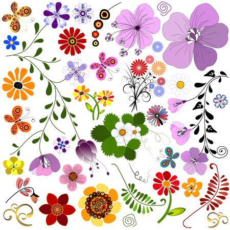 trabajo manual: Establecer alisado abstracta de flores y mariposas para dise�o en blanco  Vectores