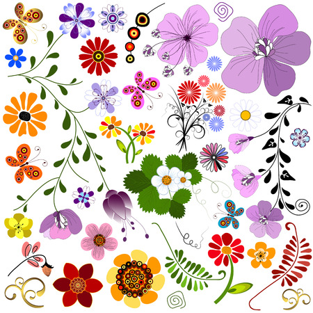 Set abstract handwork flowers and butterflies for design on white Vector