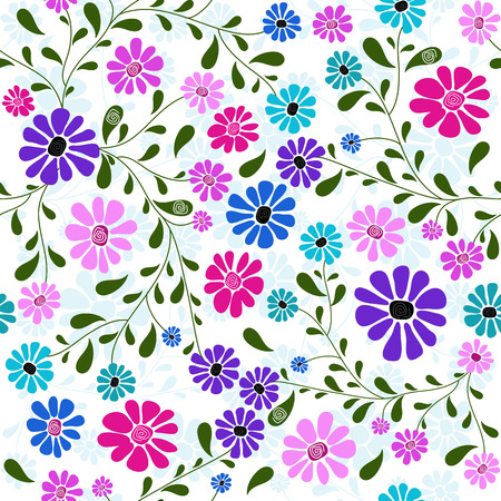 handwork: Seamless floral pattern with handwork colorful flowers Illustration