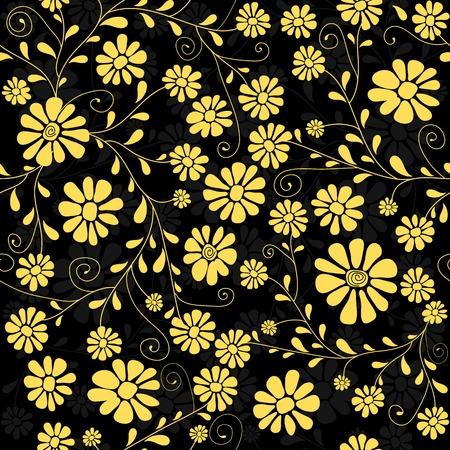 trabajo manual: Patr�n floral transparente con flores de color amarillo de handwork Vectores