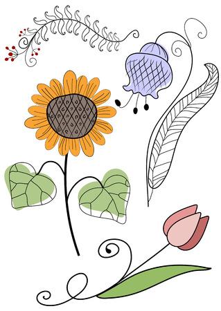 handwork: Set abstract handwork flowers for design on white